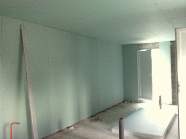Le plafond ba13 hydro avec son isolation 25cm laine de for Isolation mur interieur placo